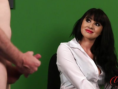 Election lady Heidi Raymond watches her kinky queen play with his cock