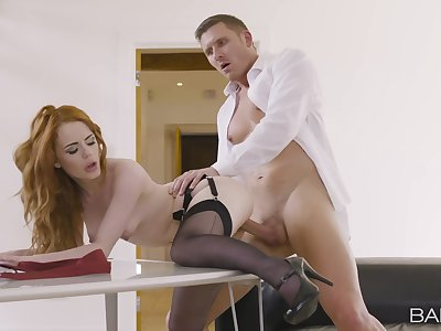 Redhead gets an obstacle big dick harder than expected