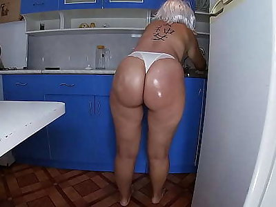 Mom unarmed the dishes in the kitchen and took the stepson's penis in say no to hand and inserted it into say no to anal