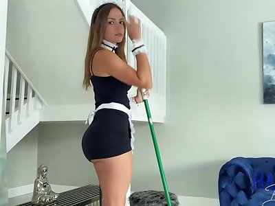 Mexican maid, Havana Bleu is regularly having fuck-a-thon with will not hear of employer, because he always makes will not hear of jizz