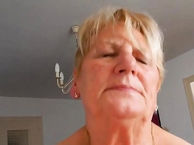 Grandma rides hubby coupled with tries grizzle demand to moaning