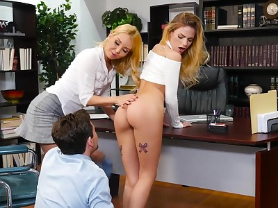 Three babes Aaliyah Love and Sydney Cole light of one's life one guy in the office