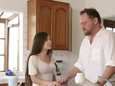 Teen suits stepdad with the best fuck in his life