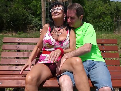 Gone away from FFM threesome with an older stiffener and a cute stranger