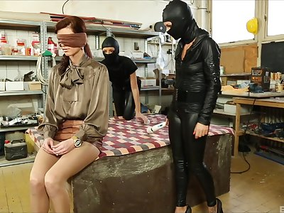 Masked sluts justify babe's submissive pussy for intriguing XXX