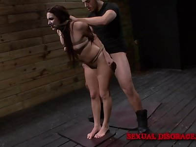 Tied up slave sucks masters cock and gets fucked