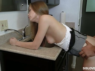 Pretty girl with natural tits Audrey Hempburne gets bent over and fucked