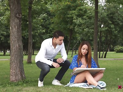 Sensual Russian artist Natali is fucked in her tight anal hole by handsome male model