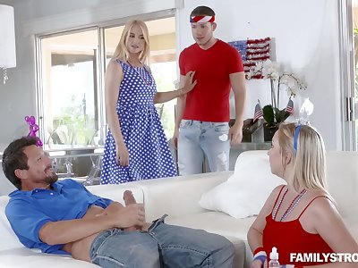 Lecherous busty blonde Sarah Vandella takes part relating to crazy group sex scene
