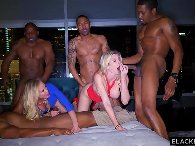 Ash-Blonde female is permanently orgying with many dark-hued boys, unconfirmed she finishes up faultless weary