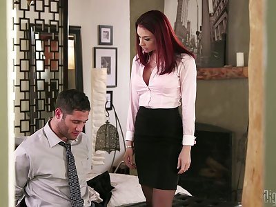 Redhead boss Chanel Preston having amazing sex with say no to employee