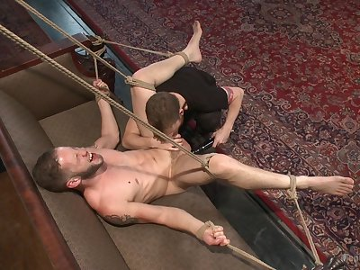 Wolf Hudson partakes in gay male slave training, added to hammer away prudence is hot