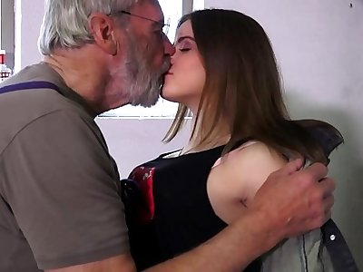 Such an innocent petite young pussy for an elderly horny hairy grandpa