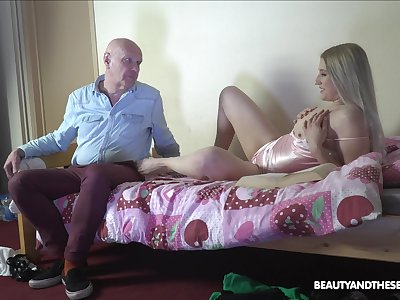 Aroused blonde welcomes older man be expeditious for a few rounds of sex
