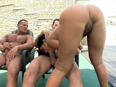 Outdoor threesome making out with natural tits wife Angelica Heart