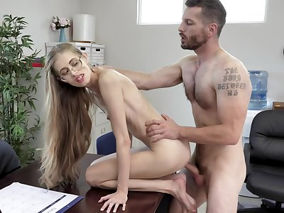 Most amazing hard fucking at the office for the skinny penman