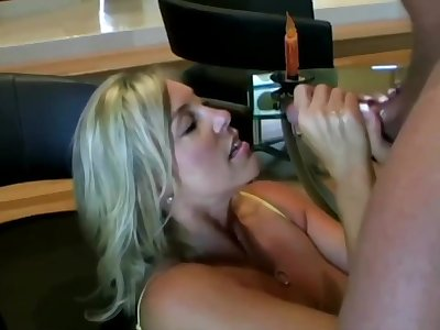 Lusty ash-blonde nurturer with hefty boobies is inhaling lollipop while getting on all fours on the floor and getting screwed